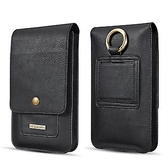 Universal mobile case 6.5 inch smartphone holster PU leather - black