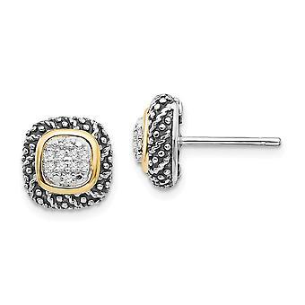 925 Sterling Zilver met 14k Diamond Post Oorbellen Sieraden Geschenken voor vrouwen - .10 dwt