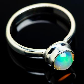 Natural Ethiopian Opal Ring Size 9 (925 Sterling Silver)  - Handmade Boho Vintage Jewelry RING7831