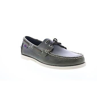 Sebago Portland Waxed Mens Green Leather Low Top Boat Shoes Loafers