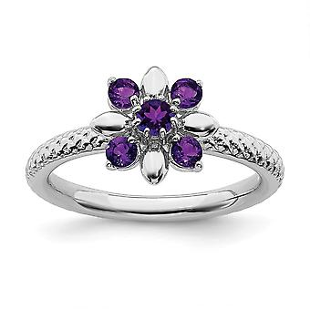 2.5mm 925 Sterling Argento lucidato Prong Set Rhodium placcato Stackable Expressions Amethyst Anello Gioielli regali per le donne