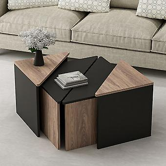 Salontafel' Flora Black Color, Hout in Melaminic Chip, 2 Pieces L60xP60xA42 cm, 2 Pieces L45xP45xA47 cm