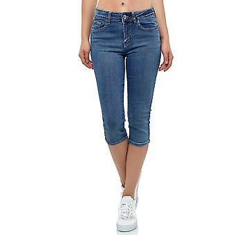 Women's Capri Jeans Shorts Stretch Bermuda Summer Denim Retro Used Design