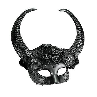 Metallic Silver Flora Goat Demon Spiral Horned Adult Halloween Costume Mask