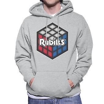 Rubik's rood wit en blauw kubus mannen Hooded Sweatshirt