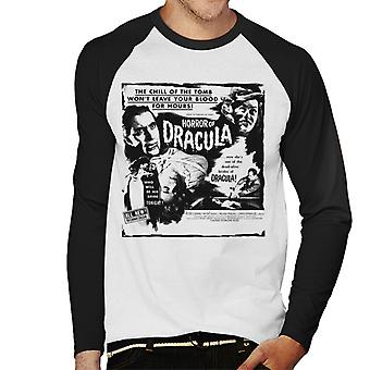 Hammer Horror Films Dracula Chill Of The Tomb Quote Men's Baseball Long Sleeved T-Shirt