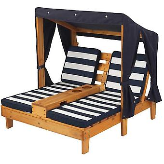 Kidkraft Double Chaise Lounge avec Cup Holder Navy