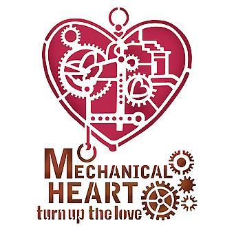 Stamperia Schablone A5 mechanisches Herz