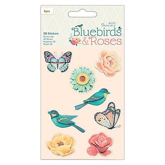 Papermania Bluebirds & Roses 3D Pegatinas (9pcs) (PMA 801106)