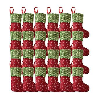 24Pcs Christmas Mini Snowflake Stockings Hanging Ornament Red+Green