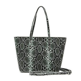 Luxury lightgreen snake print italia shoulder bag