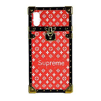 Monogram eye-trunk de cas de téléphone pour l'iPhone X (rouge avec le logo)
