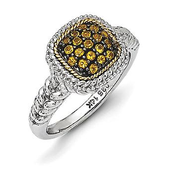 925 Sterling Silver With 14k and Black Rhodium Citrine Ring Jewelry Gifts for Women - Ring Size: 6 to 7