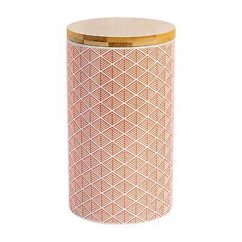نيكولا الربيع هندسية منقوشة الشاي السكر علبة - مطبخ الخزف الصغيرة التخزين - المرجان - 10cm