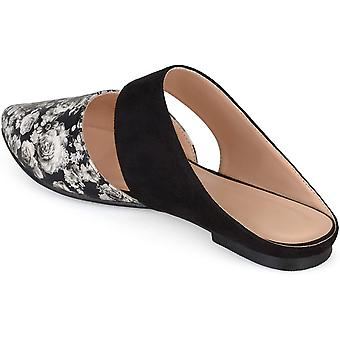 Brinley Co Womens Faux Suede Faux Leather Slip-On Mules