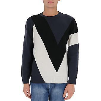 Valentino Uv0kc11c6u071b Herren's Blau Kaschmir Sweatshirt