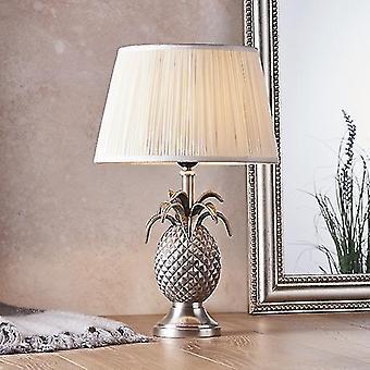 Endon Beleuchtung Ananas & Freya - Tischlampe Zinn Platte & Vintage weiße Seide 1 Licht IP20 - E27