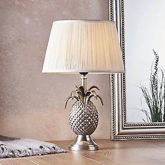 Tafellamp Pewter Plate & Vintage Witte Zijde 1 Licht IP20 - E27