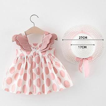 Baby Girls Dresses With Hat 2pcs Clothes Sets Baby Sleeveless Birthday Party Princess Dress Print Floral