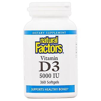 العوامل الطبيعية فيتامين D3، 5000 وحدة دولية، 360 كبسولة كبسولات