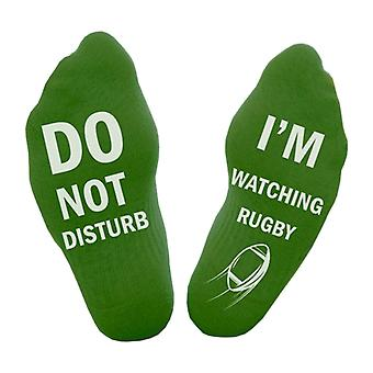"Flo Cotton Ankle Socks ""Do Not Disturb, I'm Watching Rugby""- Green, Size UK 4-11"