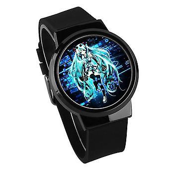 Водонепроницаемые светящиеся светодиодные цифровые сенсорные детские часы - Hatsune Miku #5
