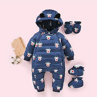 Velvet Baby Winter Snowsuit Hooded Cartoon Newborn Rompers, Down Overalls