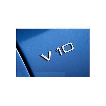 Chrome V10 Stick On Badge Emblem For Audi S6 RS6 S8 R8