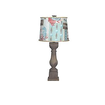 Brown Washed Wood Finish Table Lamp with Nautical Patchwork Shade