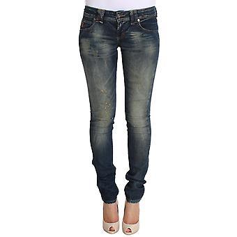 Galliano Blue Wash Skinny Low Cotton Stretch Denim Jeans