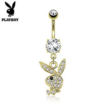 Navel ring with paved gems on playboy bunny dangle 14g