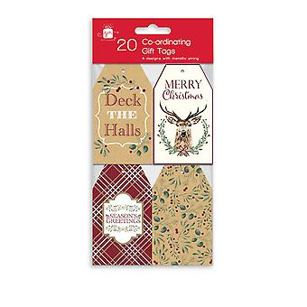 Pack 20 Traditional Christmas Xmas Co-ordinating Gift Tags & Thread