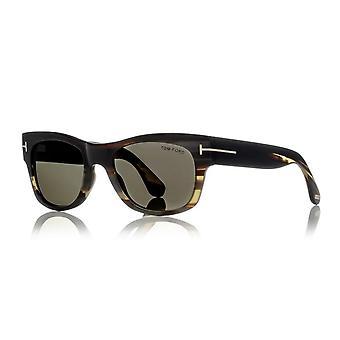 Tom Ford Horn Tom N.2 64E Shiny Striped Green Horn/Light Brown Photochromic Sunglasses