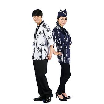 Unisex Sushi Chef Coat 3/4 Sleeve Kinomo Japanese Restaurant Uniform Jacket Ties Up
