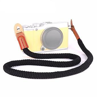 Vintage Cotton Soft Shoulder Neck Strap for Leica, Nikon, Fuji, Canon, Panasonic, Sony etc. Mini Cameras (Black)