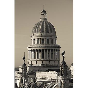 Kuba Havanna Capitol Building dawn affisch Skriv av Walter Bibikow