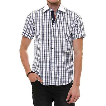 Checkered short sleeve white slim fit men's shirt