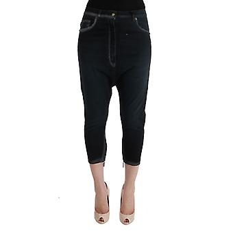 Cavalli Black Cotton Stretch Baggy Jeans