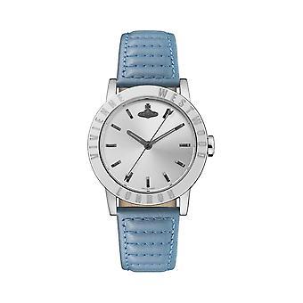 Vivienne Westwood Vv213slbl Warwick Zilver en Blauw Lederen Dames Horloge