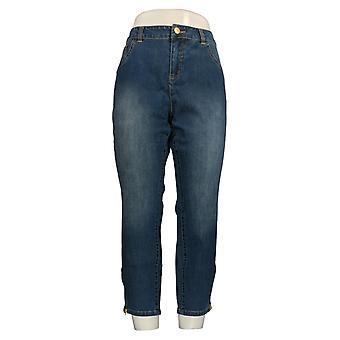 G.I.L.I. Women's Petite Jeans Washed Denim Ankle Zip Blue A302854