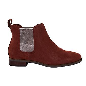 Toms Ella Muscat Burgundy Suede Leather Slip On Womens Chelsea Boots 10012460