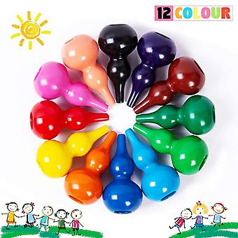 Richgv crayons for toddlers, non toxic 12 colour washable palm-grip crayons colourful pencil for tod