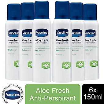 6x of 190ml Vaseline Proderma Anti Perspirant Deodrant, Aloe Fresh Skin Care