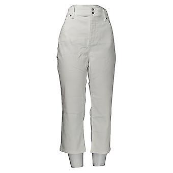 NYDJ Women's Jeans Skinny Cropped Side Slits Optic White A377695