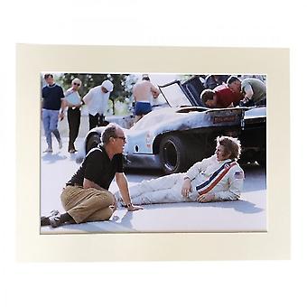 Larrini Mcqueen & John Sturgess At Le Mans A4 Mounted Photo