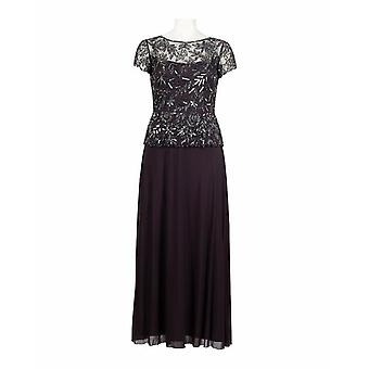 An Ornate Glamorous Jersey/lace Ankle-length Evening Gown