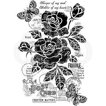 Holzgeschirr klar Singles Vintage Rose 4 in x 6 in Stempel