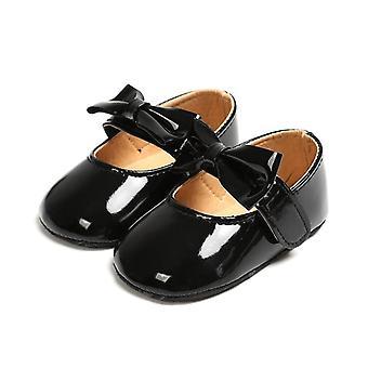 Pu Crib Sko Anti-slip Bow Sneakers Nyfødte Baby Soft Sole Prewalker Casual