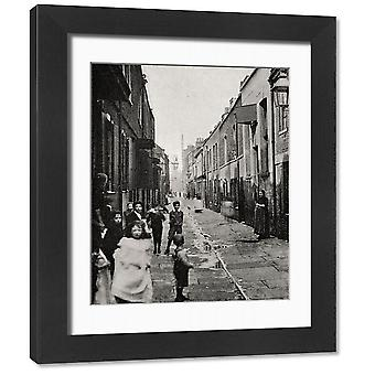 Street in Wapping, East End of London. Framed Photo. A view of a narrow street in Wapping, East.