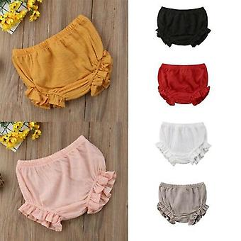 Toddler Infant Baby Kids Ruffles Shorts Bottoms Solid Pp Bloomers Cotton Nappy